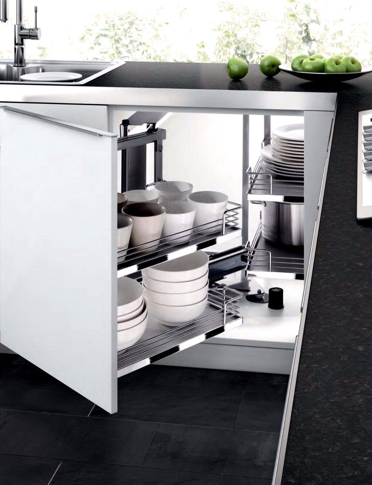 Kitchen Cabinet Blind Corner Pull Out Shelves Sliding Door Corner Organizer