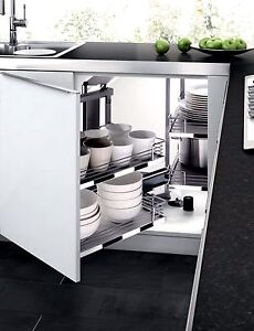 Details About Kitchen Cabinet Blind Corner PULL OUT SHELVES Sliding Door  Corner Organizer