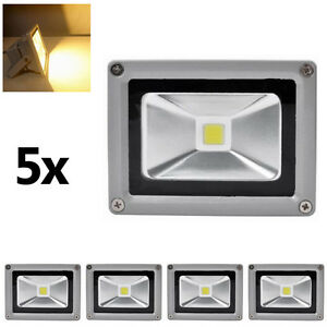 5x10w led strahler flutlicht au en fluter scheinwerfer licht ip65 warmwei lampe ebay. Black Bedroom Furniture Sets. Home Design Ideas