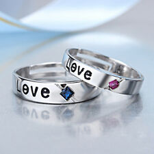 Couple Love 925 Sterling Silver Crystal CZ Wedding Band Engagement Promise Ring
