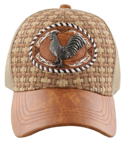 NEW STRAW MESH METAL COCK FIGHT FAUX LEATHER BALL CAP HAT TAN