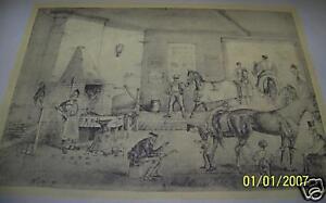 Vintage Art Original Print TROTTING CRACKS AT THE FORGE
