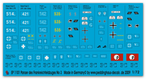 Peddinghaus 1//72 1101 Panzer Des Francia Campagna Parti 3