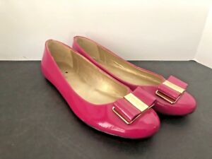 64c7c80e30be KATE SPADE FUSCHIA PINK PATENT LEATHER BOW FLAT SLIP ON SHOE SIZE 8M ...