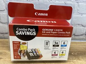 Genuine Canon BCI-3e BLK Cyan Magenta Yellow Ink Cartridges New + Photo Paper