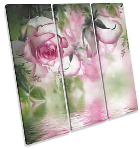 Beautiful-Floral-Flowers-CANVAS-WALL-ART-TREBLE-Square-Print-Picture