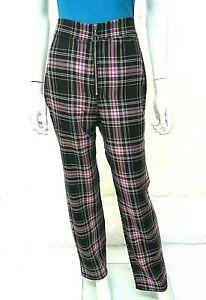 Neuf-2020-Look-Tisse-Taille-Haute-Tartan-Carreaux-ajuste-Zip-Front-Pantalon-Taille-6-18