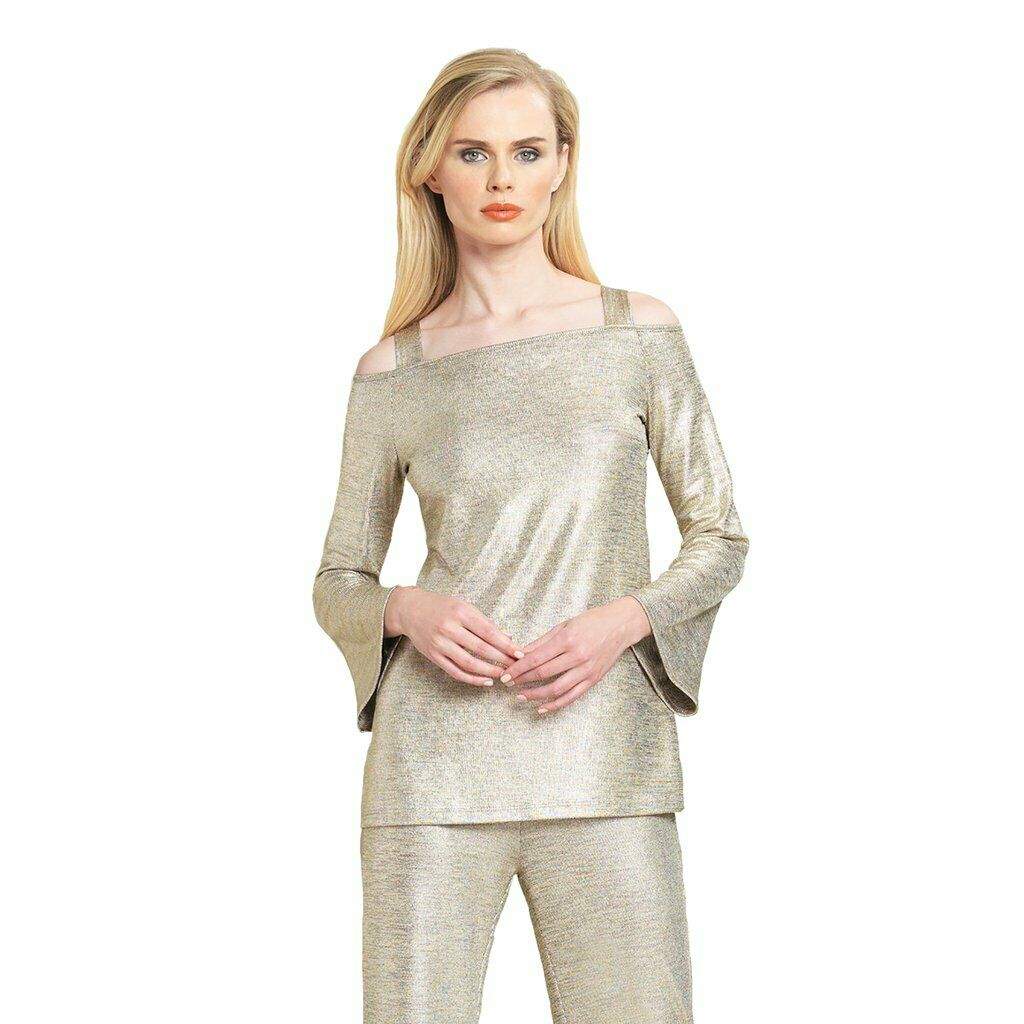 CLARA SUN WOO Lamé Open Shoulder Bell Sleeve Top in Champagne - T205H Sz.S or M