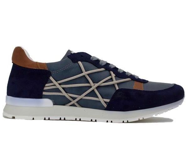 scelte con prezzo basso scarpe da ginnastica uomo l4k3 in camoscio blu con con con corde laterali gomma bianca  caldo