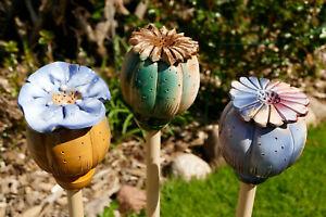 Details zu  mohn,mohnblume,keramik,garten,blüte,wetterfest,blume,gartenstecker,litauen