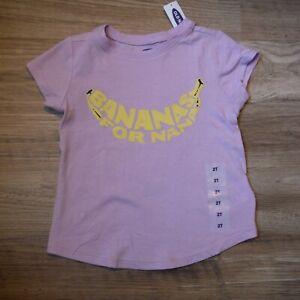 Little-Girls-Lavender-Tee-shirt-size-2T-Old-Navy-Bananas-for-Nana-short-sl-NEW