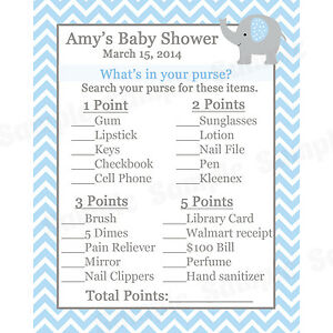 24 personalized baby shower what 39 s in your purse game cards elephant