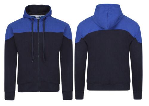 Mens Zipper Hoodies American Fashion Contrast Yoke Fleece Jackets Sweatshirts