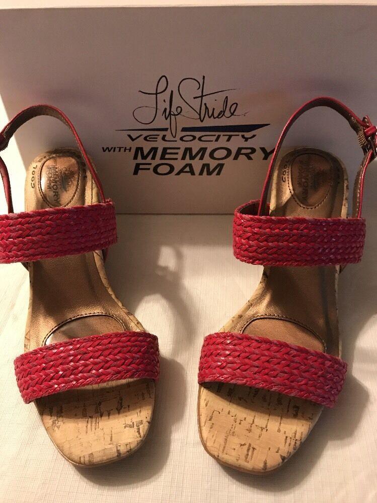 Life Stride Women's shoes Velocity Memory Foam Fuchsia Woven Wedges Size 8.5 NWB