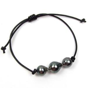 Authentic-Tahitian-Black-Pearl-Genuine-Leather-Cord-Adjustable-Bracelet