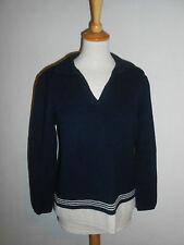20 1050 BERND BERGER Pullover Pulli Gr. 38 dunkelblau weiß Polokragen TREND