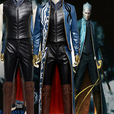 High-quality Devil May Cry DMC 3 Vergil PU Cosplay Costume Full Set Customized