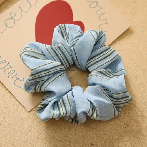 Vintage Flower Striped Soft Chiffon Hair Scrunchies Ponytail Elastic Hair Ring