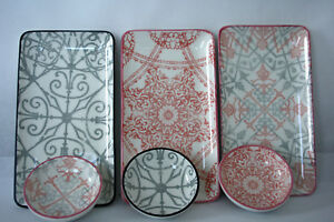 Snack-Teller-Dip-Schaelchen-Schale-Grau-Rosa-22x12cm-D9-cm-Porzellan-Vintage