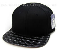Plain Snapback Hat Baseball Cap 3d Hologram Metalic Color Flat Bill Visor Black