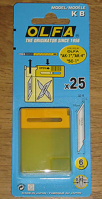 "OLFA 6mm Art Blades 4 packs KB-25 (100 Spare Blades) fits ""AK-1"" "" AK-4"" ""SC-1"""