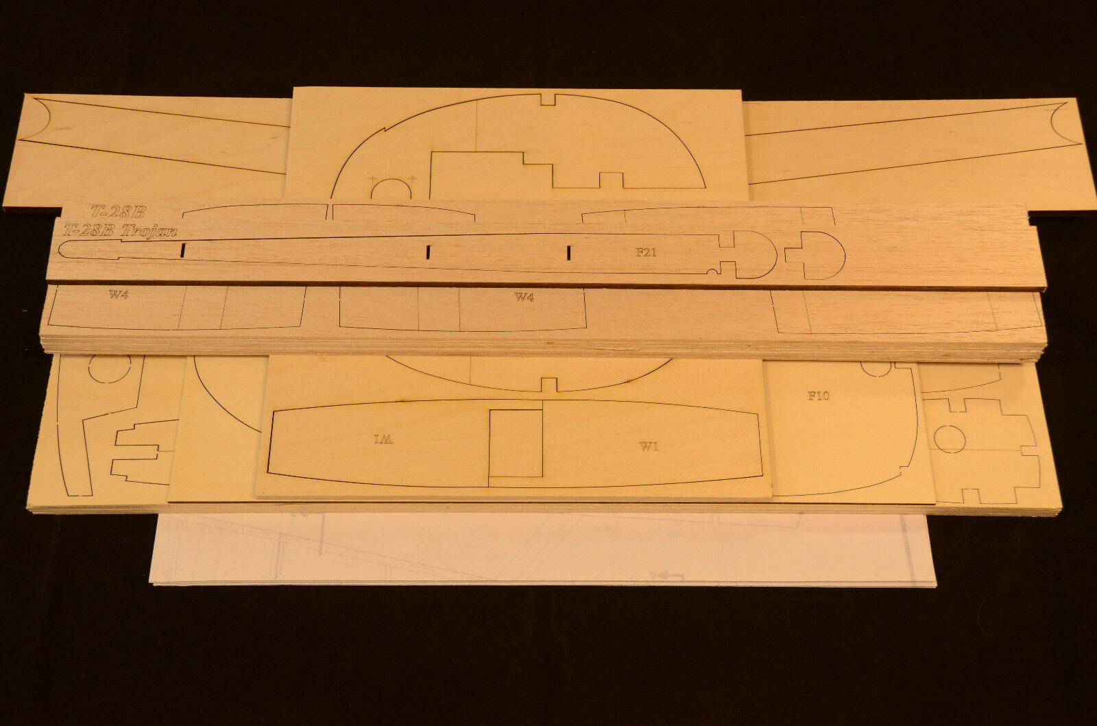 Large 1 5 Scale T-28B TROJAN Laser Cut Short Kit & Plans 82 in. wing span.