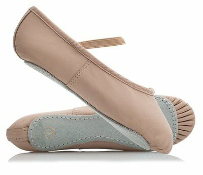 Cuero Zapatos De Ballet, Rosa, elásticos en, (Easy Fit como al aire libre de tamaño del zapato), todos los tamaños