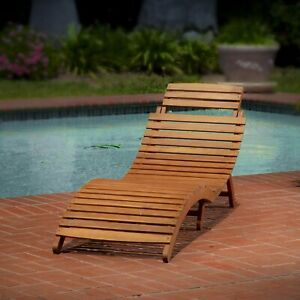 Cool Details About Wood Outdoor Chaise Lounge Chair Patio Furniture Garden Pool Wooden Adjustable Pabps2019 Chair Design Images Pabps2019Com