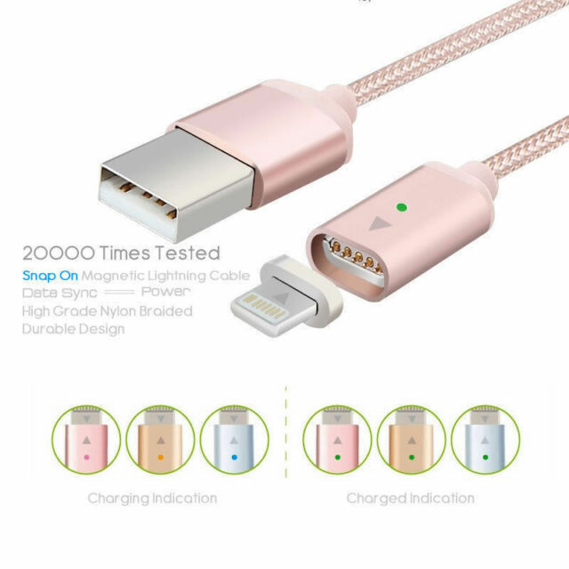 2.4A 1M Magnetic Micro USB Data Lightning Charge Cable For Android Universal HTC