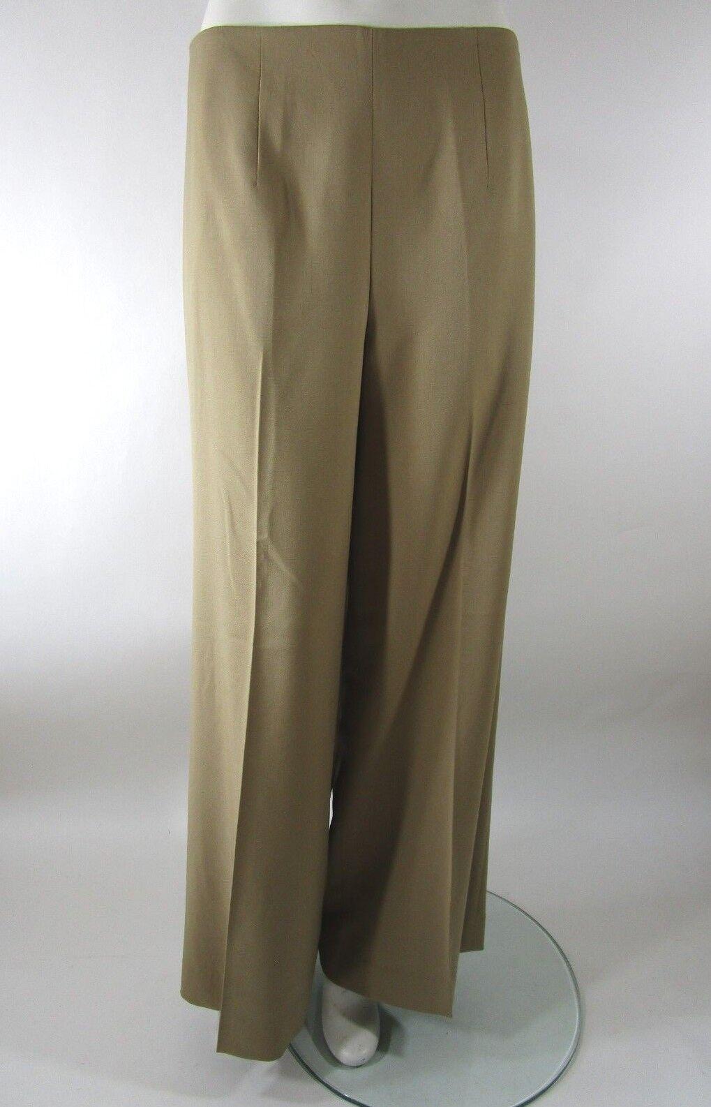 RALPH LAUREN blueE LABEL Tan Flat Front Wide Leg Wool Trouser Size 10