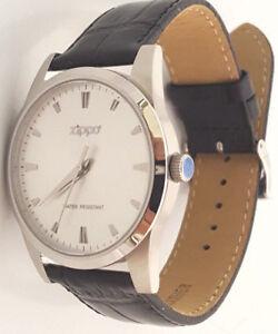 ZIPPO-Herren-Armbanduhr-Edelstahl-Leder-Armband-schwarz-Ziffernblatt-weiss