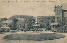 BATH NY – NY State Soldiers and Sailors Home Library, Fountain and Company A