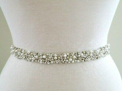 "Wedding Sash Belt = 17/"" trim Rose Gold Clear CRYSTAL PEARL Wedding Sash Belt"
