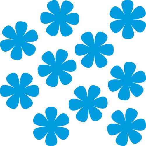 10 Aufkleber 8cm blau Tattoo Blumen Blümchen Blüten Deko Folie Auto Fenster Tür