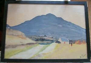 Antique-Old-Original-Watercolour-Painting-Ireland-Connemara-signed