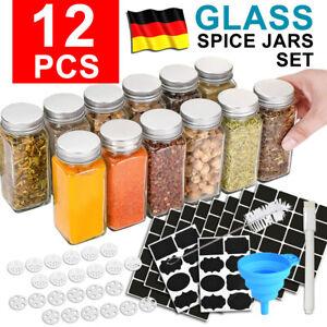 12er Set Vorratsgläser mit Edelstahl Deckel Aufbewahrung Gewürzgläser Glas Dosen