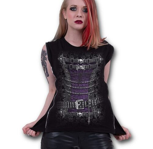Spiral Waisted Corset Women/'s Black Ribbed Side Zip Top