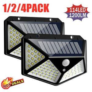 100-LED-Solar-Power-PIR-Motion-Sensor-Wall-Lights-Outdoor-Garden-Security-Lamp-A