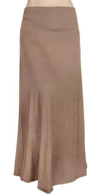 Solid Long Maxi Skirt Waist Foldover Full Length Lightweight Rayon Spandex USA
