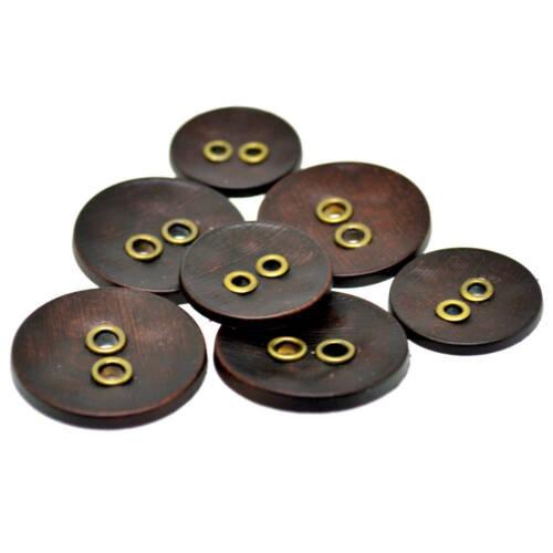Brown œillets Boutons Imitation Bois 3 Couleurs Tailles 23 mm 28 mm 37.5 mm