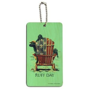 Details about Ruff Day Labrador Lab Dogs Rough Wood Luggage Card Suitcase  Carry-On ID Tag