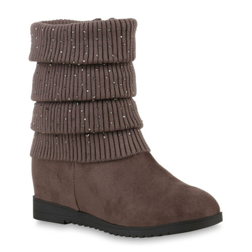 893185 Schuhe Damen Keilstiefeletten Strass Stiefeletten New Look