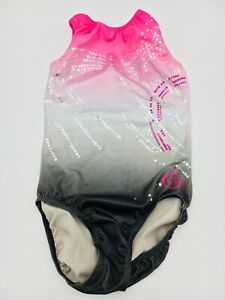 Zone-Ozone-Gymnastics-Dance-Competition-Leotard-Adult-Medium-Pink-amp-Gray-Foil