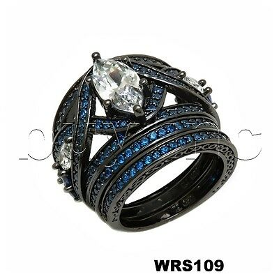 Black Rhodium Disney 3.28CTW Fantasy Blue Sapphire Engagement Wedding Ring Set