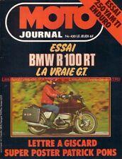 MOTO JOURNAL  430 BMW R 100 RT R100 ; YAMAHA 250 IT SONAUTO Patrick PONS 1979