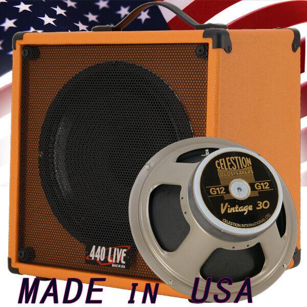 1x12 Guitar Speaker Extension Cab W  8 Ohms CELESTION VINTAGE 30 Orange Tolex