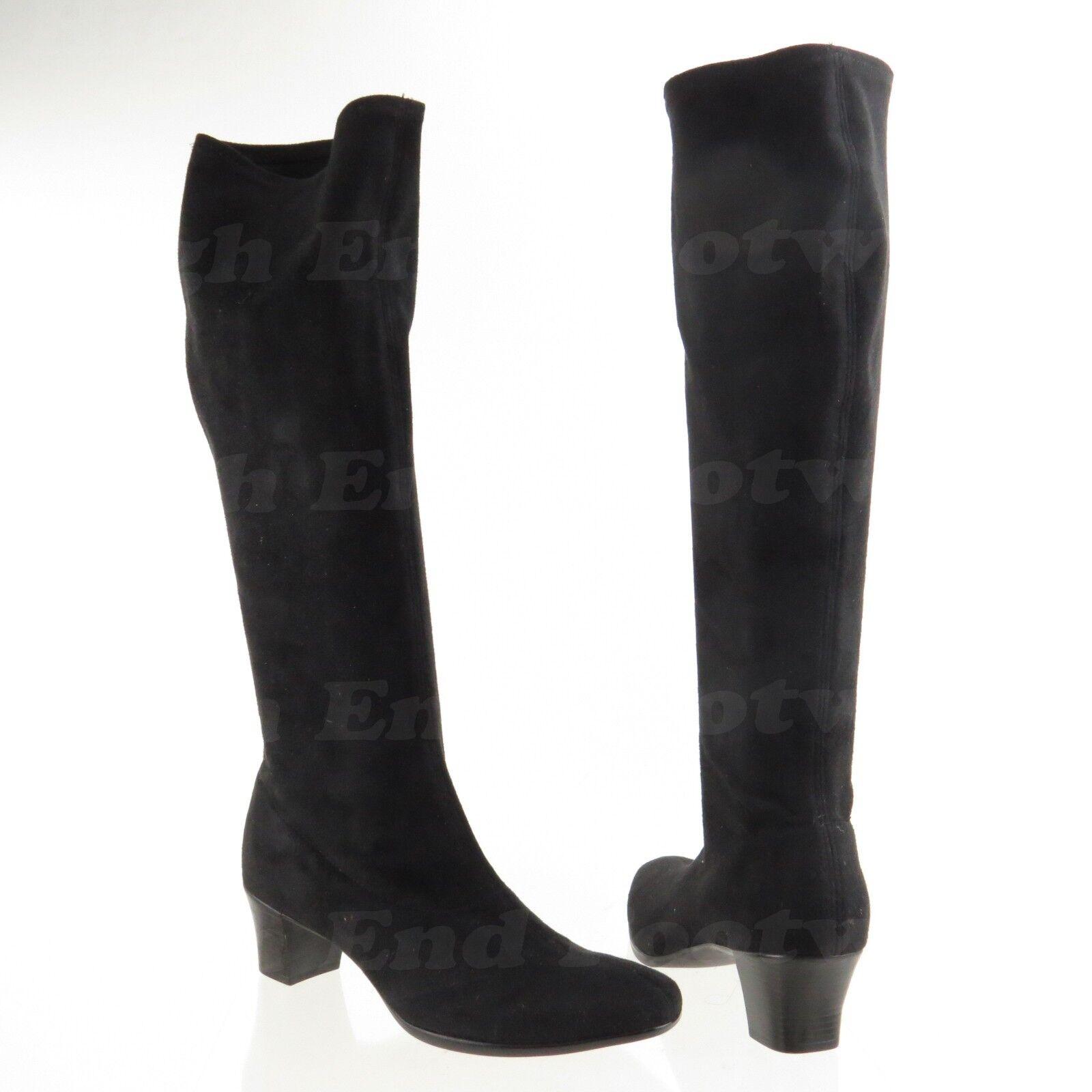 Munro Ann Gamuza Negra Elástico Eje de Alto botas M611187 para mujer N