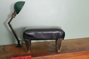 Vintage-Foot-Stool-Wood-Black-and-Brown-Small-Decor-Furniture-Piece