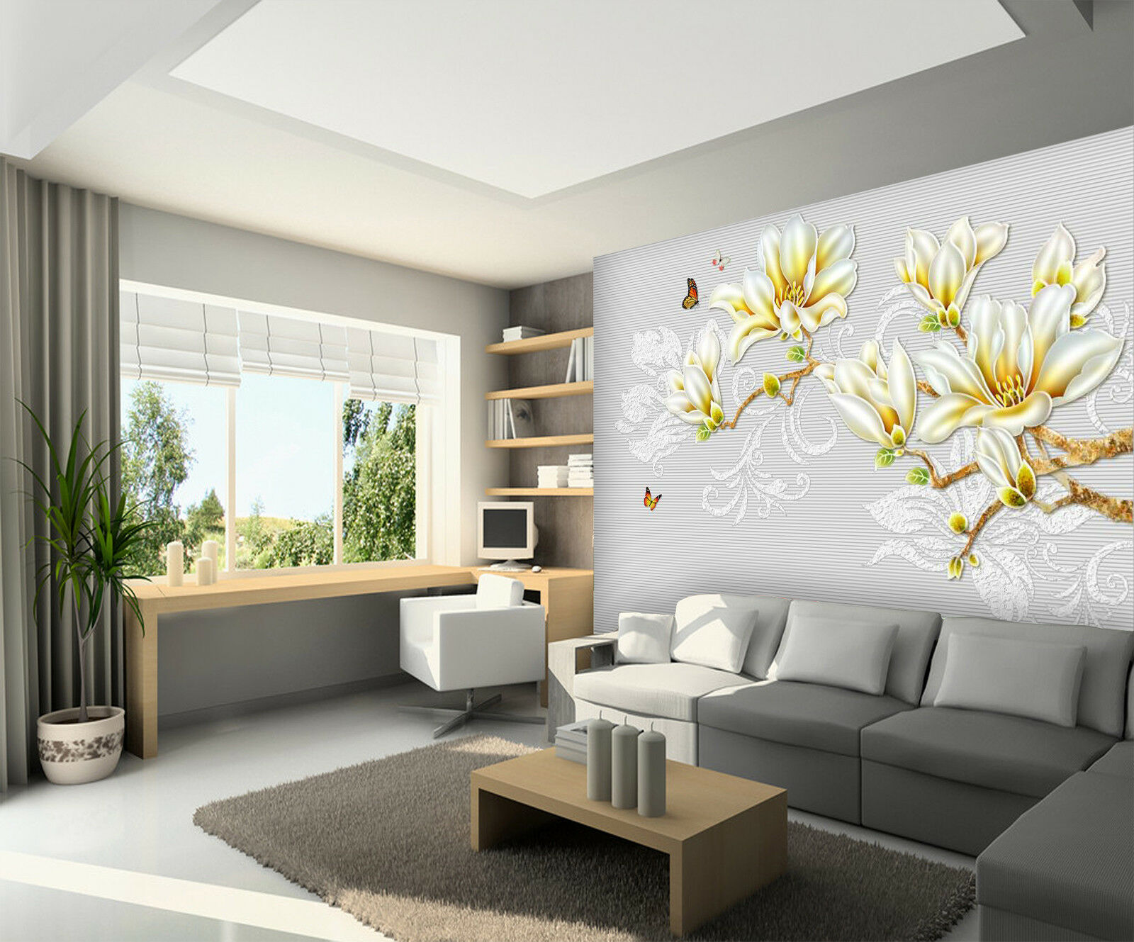 3D Yellow Flowers 838 Wallpaper Mural Paper Wall Print Wallpaper Murals UK