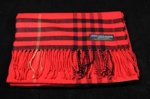 100/% Cashmere Scarf Soft 72X12 Red Black Warm Scotland Wool Check Plaid Wrap C75